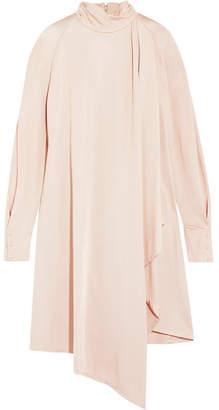 Carven Asymmetric Draped Satin Dress - Blush