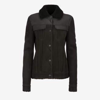 Bally Shearling Trucker Jacket Black, Women's lamb shearling jacket in black