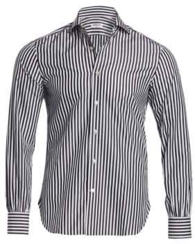 Kiton Classic-Fit Stripe Cotton Sport Shirt