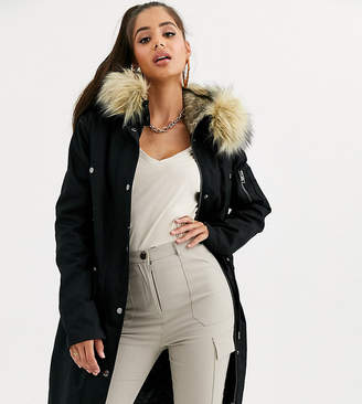 Asos Tall DESIGN Tall parka with detachable faux fur liner