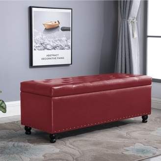 BEIGE Circlelink Nail-Head Trim Storage Bench Chest with Tufted PU Cushion,