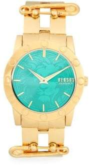 Versace Goldtone Lion Dial Bracelet Watch