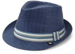 Block Headwear Stripe Band Straw Trilby