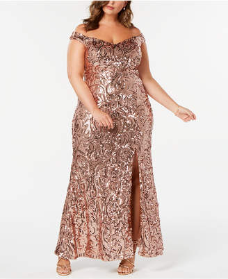 Night Way Nightway Plus Size Off-The-Shoulder Sequined Gown