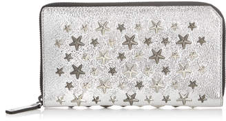 Jimmy Choo CARNABY Champagne Glitter Leather Travel Wallet with Silver and Gunmetal Multi Metal Stars
