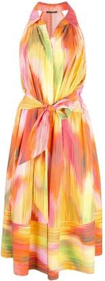 Josie Natori abstract print midi dress