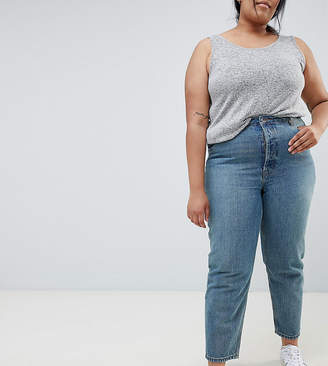 Asos DESIGN Curve Recycled Florence authentic straight leg jeans in light stonewash blue