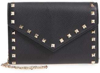 Valentino Rocktstud V-Flap Calfskin Leather Wallet on a Chain