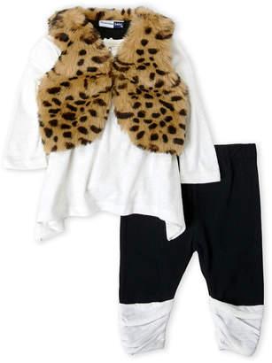 Vitamins Baby Newborn Girls) 3-Piece Faux Fur Vest & Leggings Set