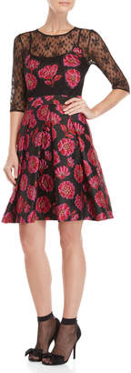 Blugirl Jacquard Floral Illusion Fit & Flare Dress