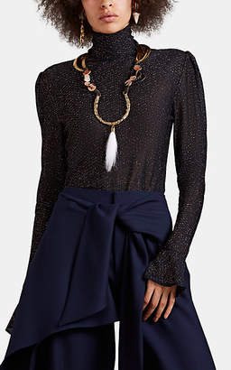 Chloé Women's Ruffled-Cuff Knit Turtleneck Top - Navy