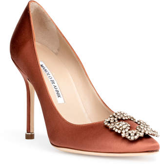Manolo Blahnik Hangisi 105 orange LSMOR pumps