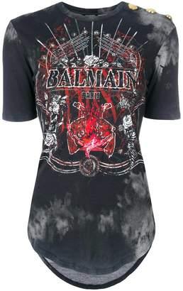Balmain stud shoulder graphic T-shirt