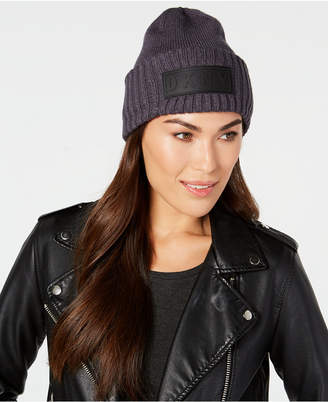 DKNY Puff-Patch Ribbed Beanie