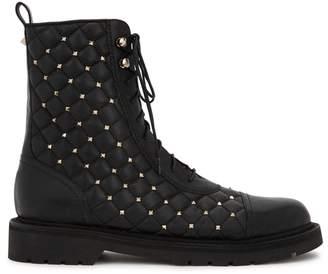 Valentino Rockstud Spike Black Leather Boots