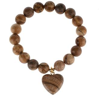 Lee Sands Picture Jasper Heart Stretch Bracelet