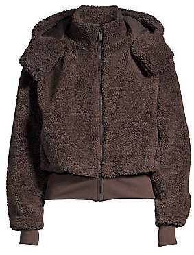 Alo Yoga Women's Foxy Faux-Sherpa Hooded Bomber Jacket