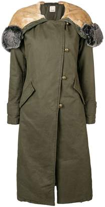 Pinko hooded single breasted coat