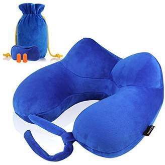 MORECOO Travel Pillow Set U-Shape Pillow Inflatable Travel Neck Pillow Portable Pillow for Airplane with Earplugs Eye Mask and Carry Bag (Royal Blue)