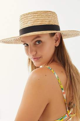 Urban Outfitters Straw Ribbon-Trim Boater Hat