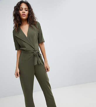 Asos Tall Design Tall Wrap Jumpsuit With Self Belt