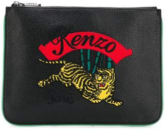 Kenzo embroidered Tiger clutch