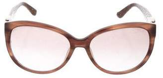 Salvatore Ferragamo Gradient Embossed Leather-Trimmed Sunglasses