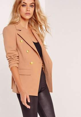 Missguided Military Style Blazer Nude, Brown