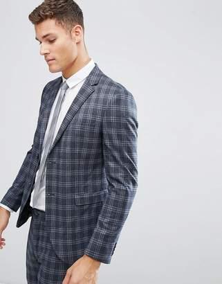 Jack and Jones Slim Suit Jacket In Wide Check