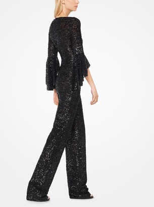 Michael Kors Sequined Stretch-Tulle Jumpsuit