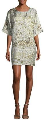 Moschino Pearl-Print Silk Shift Dress