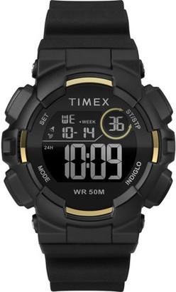 Timex Unisex Mako DGTL Digital 44mm Black/Gold-Tone Watch, Silicone Strap