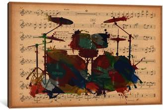 iCanvas iCanvasART 1 Piece Multi-Color Drums on Music Sheet Canvas Print