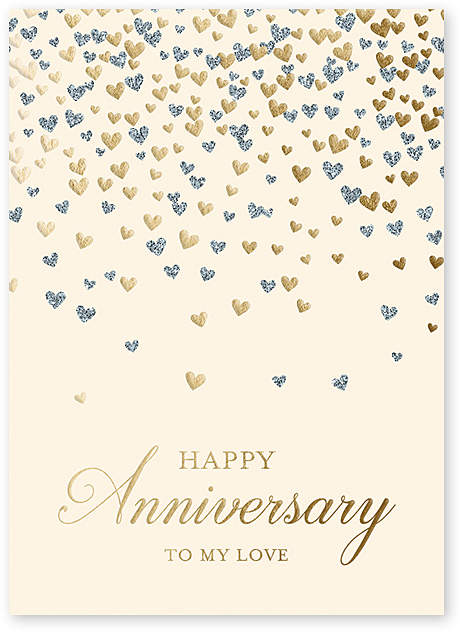 Heart Confetti Anniversary Greeting Card - Set of Six