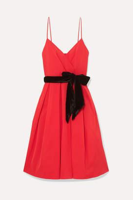 J.Crew Disc Velvet-trimmed Faille Dress - Red