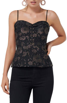 Forever New Gwen Floral Lace Up Metallic Top