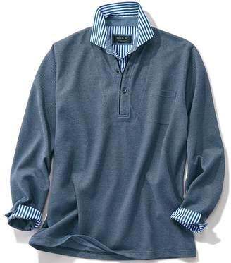 ベルーナ (ベルーナ) - ベルーナ <DEVALTE>レイヤードデザイン布帛衿長袖ポロシャツ ボルドー 3L メンズ
