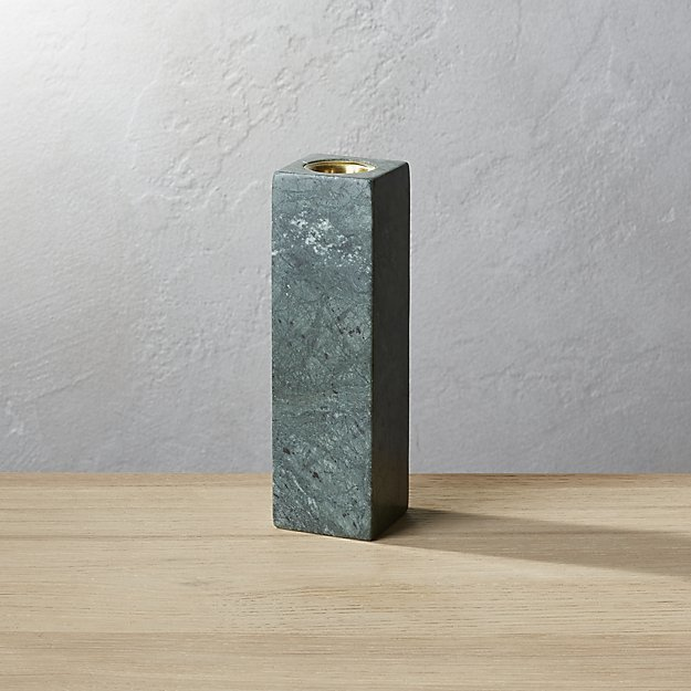 Large Green Marble Taper Candle Holder