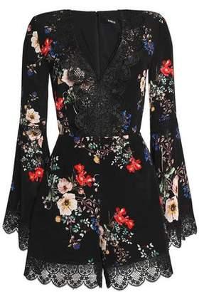 Nicholas Lace-Trimmed Floral-Print Silk Crepe De Chine Playsuit