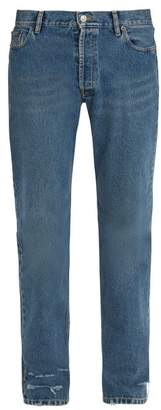 Balenciaga Distressed Straight Leg Jeans - Mens - Denim