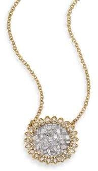 Ice Diamond Pleve Ice Diamond& 18K Yellow Gold Mini Flower Pendant Necklace