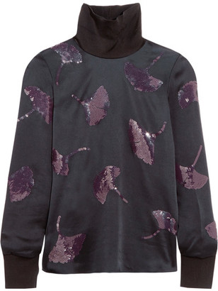 3.1 Phillip Lim - Sequin-embellished Satin Top - Midnight blue $695 thestylecure.com