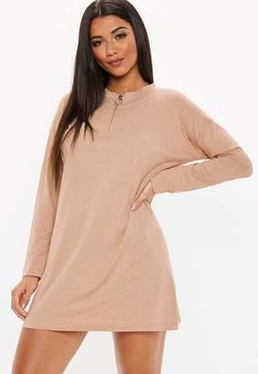 Missguided Camel Oversized Zip Front T Shirt Dress
