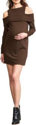 Maternal America Rib Detail Cold Shoulder Maternity Dress