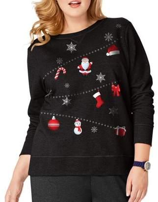 Just My Size Women's Plus-Size Ugly Christmas Sweatshirt