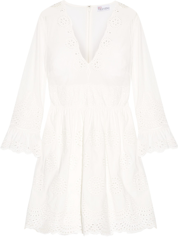RED ValentinoREDValentino Broderie anglaise cotton mini dress