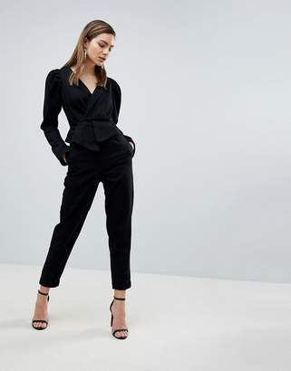 Asos DESIGN denim jumpsuit with balloon sleeve in black