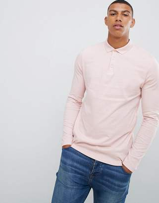 Asos Design DESIGN long sleeve jersey polo in pink
