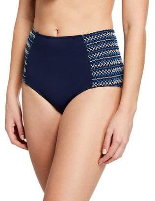 Jonathan Simkhai Smocked High-Waisted Bikini Swim Bottoms
