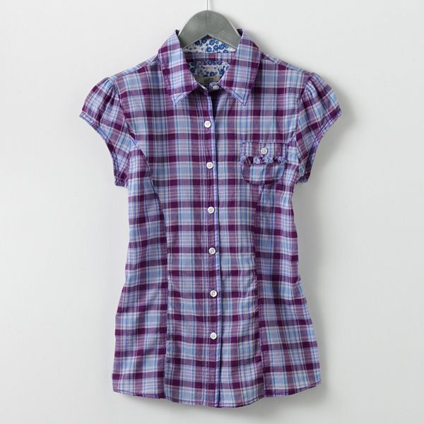 So® Ruffled Plaid Camp Shirt